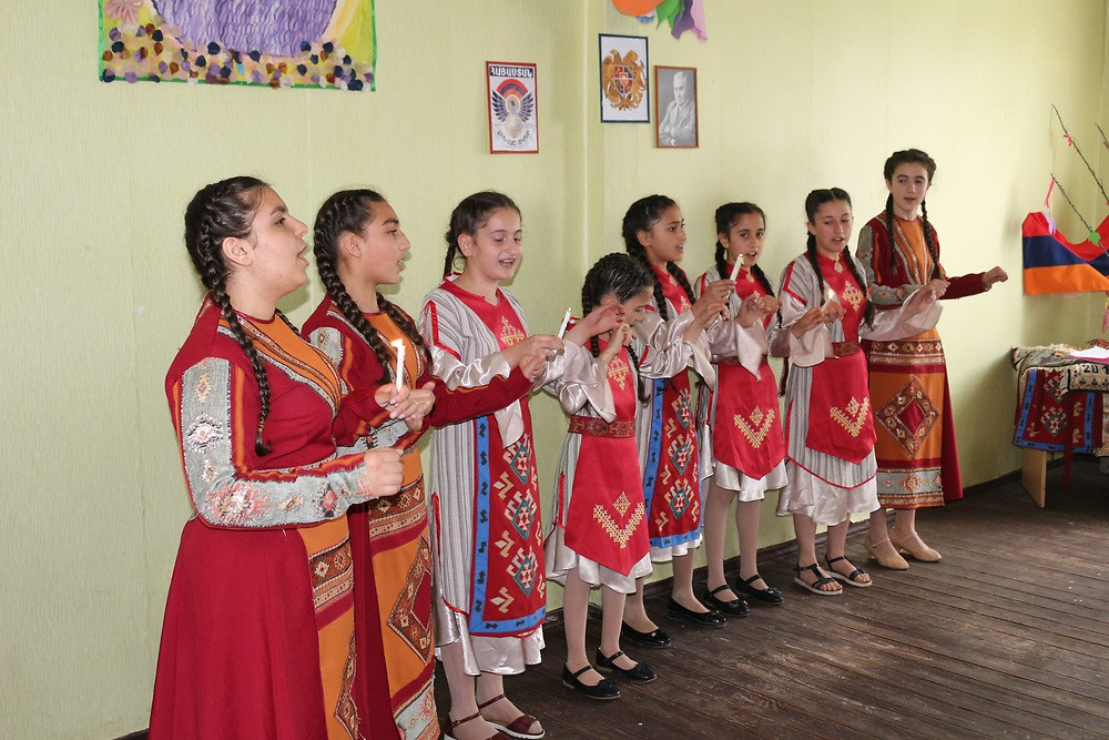 School girls of Sasunik sing a traditional folk song