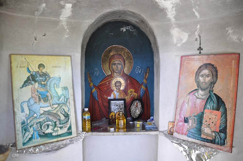 Icon shrine in small chapel near beginning of Troodos Mountains. Photo: Meg Pier