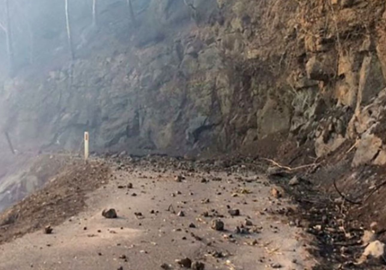 Binna Burra Road damaged by bushfire on September 8. Photo: Qld Department of Transport and Main Roads