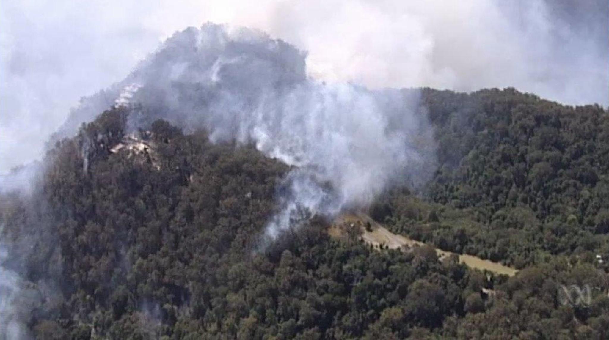 Wildfires spreading across the Binna Burra cultural landscape. Photo: Binna Burra Lodge