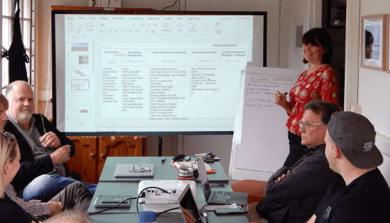 Dianne Dredge leads a workshop at Binna Burra.