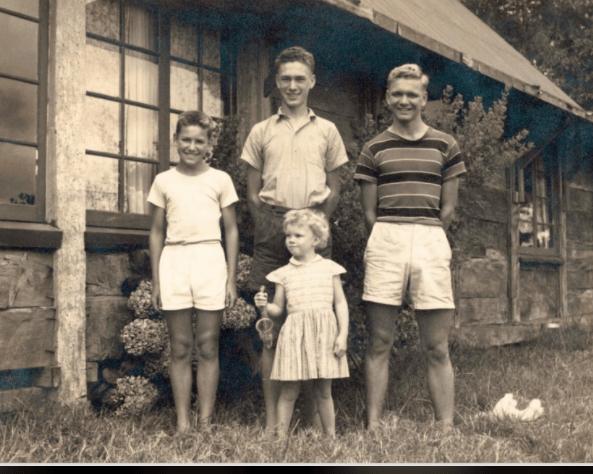 Arthur Groom's four children outside the Binna Burra manager's cottage, circa 1953. Tony is in the center. Photo: Binna Burra Lodge