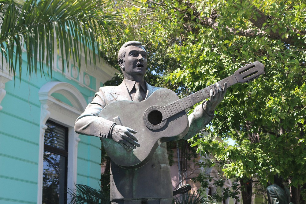 Statue outside Merida's Museum of the Yucatecan Song.