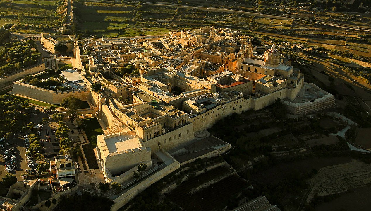 Aerial view of Mdina and its fortifications