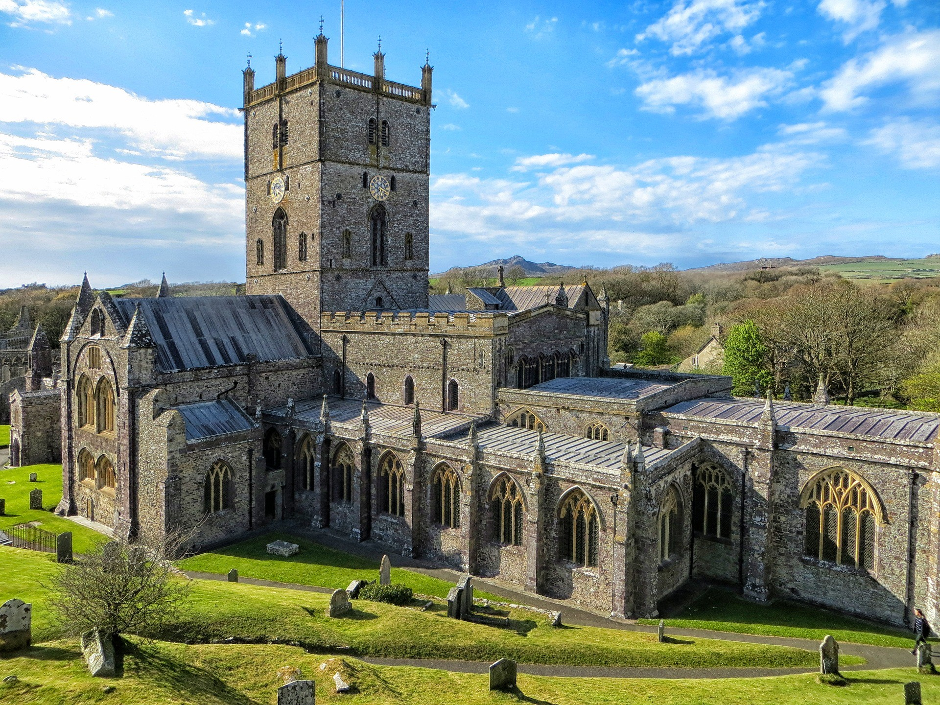 View of St. David's Cathedral in Pembrokeshire, Wales.