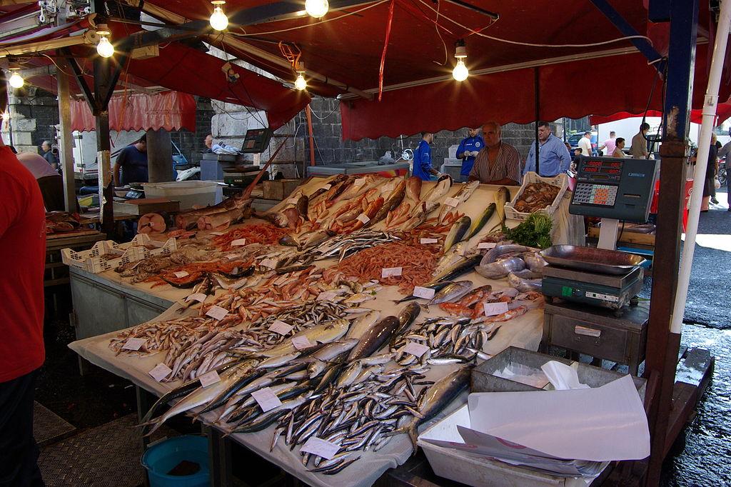 Touring the fish stalls of Pescheria di Catania