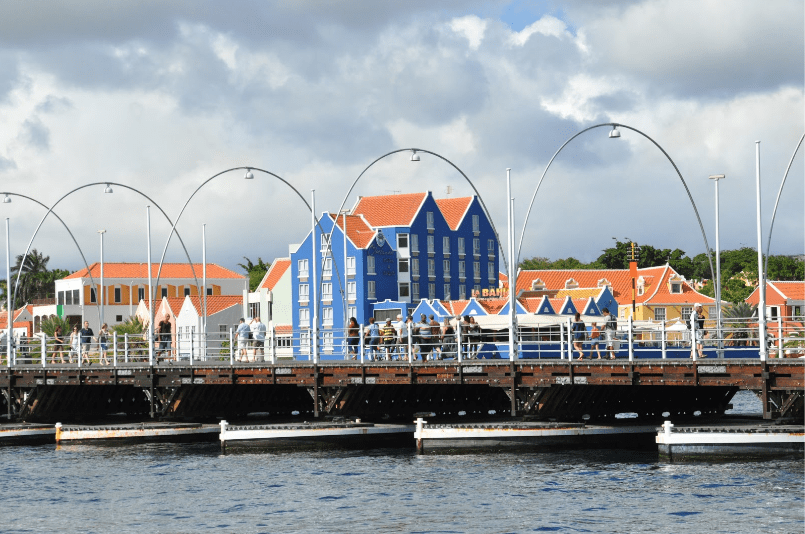 The Pontoon boats holding up the Queen Emma Bridge